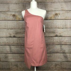 Zara Trafaluc Blush Pink One-Shoulder Mini Dress